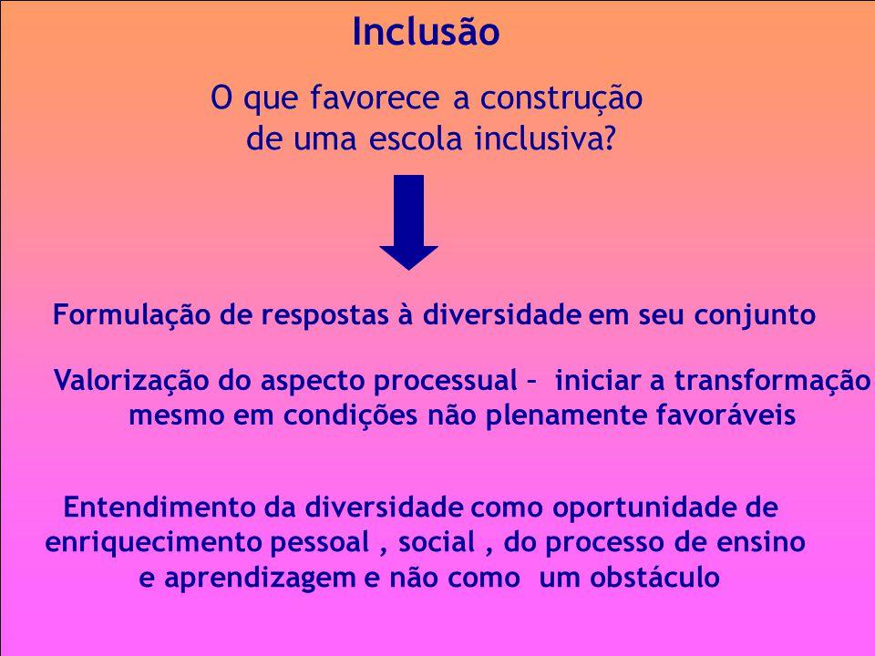 Inclusão O que favorece a construção de uma escola inclusiva