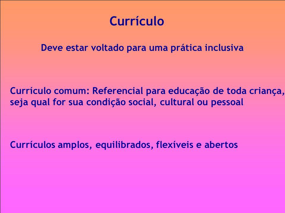 Currículo Deve estar voltado para uma prática inclusiva