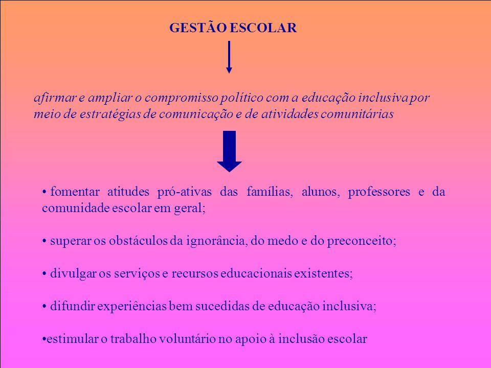 GESTÃO ESCOLAR afirmar e ampliar o compromisso político com a educação inclusiva por meio de estratégias de comunicação e de atividades comunitárias.