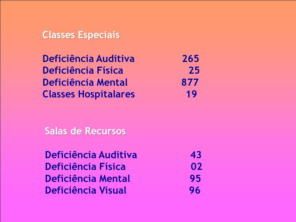 Classes Especiais Deficiência Auditiva 265. Deficiência Física 25.