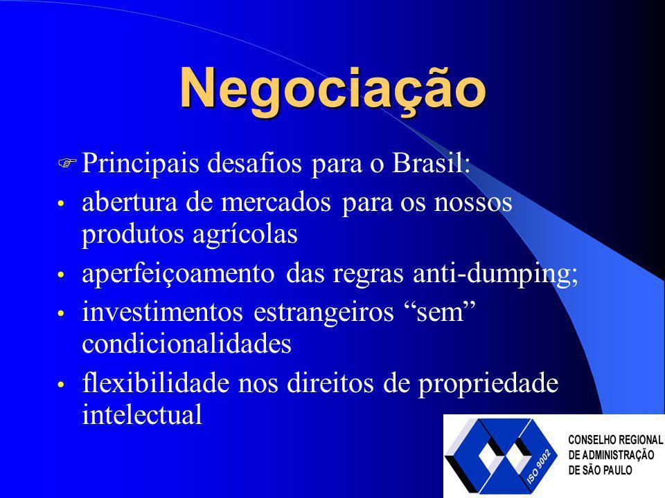 Negociação Principais desafios para o Brasil: