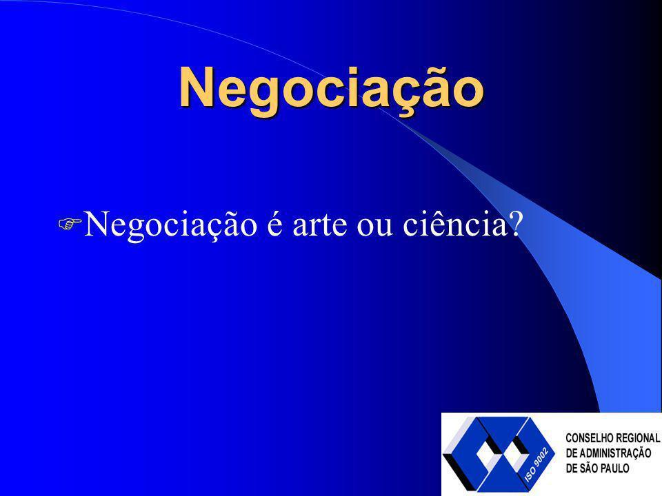 Negociação Negociação é arte ou ciência