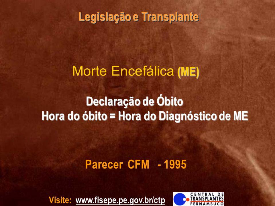 Morte Encefálica (ME) Declaração de Óbito Hora do óbito = Hora do Diagnóstico de ME