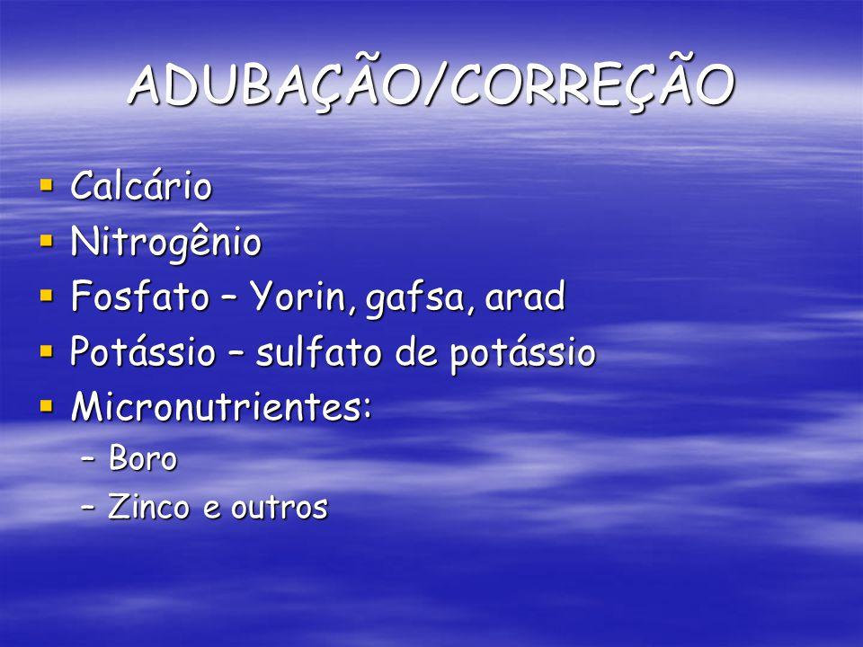 ADUBAÇÃO/CORREÇÃO Calcário Nitrogênio Fosfato – Yorin, gafsa, arad