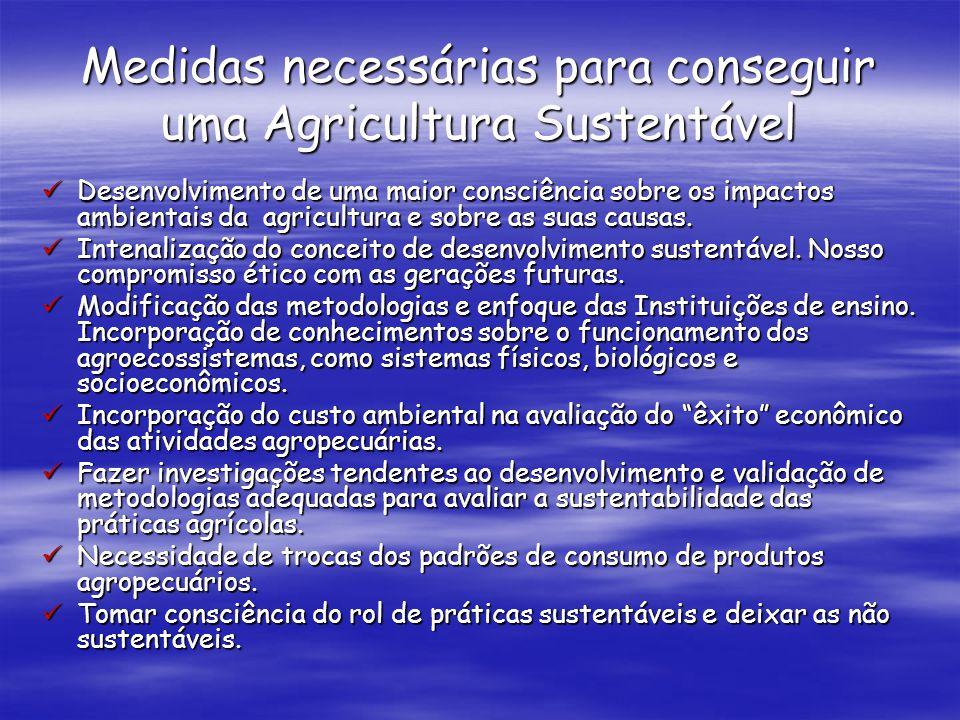 Medidas necessárias para conseguir uma Agricultura Sustentável