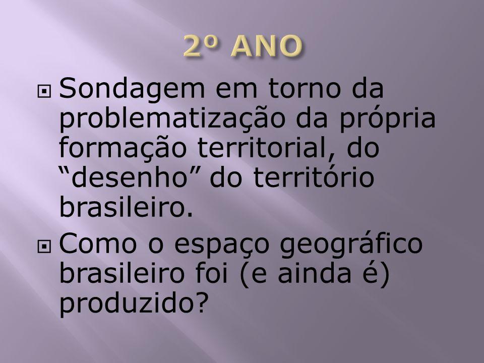 2º ANO Sondagem em torno da problematização da própria formação territorial, do desenho do território brasileiro.