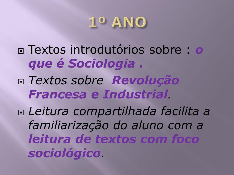 1º ANO Textos introdutórios sobre : o que é Sociologia .