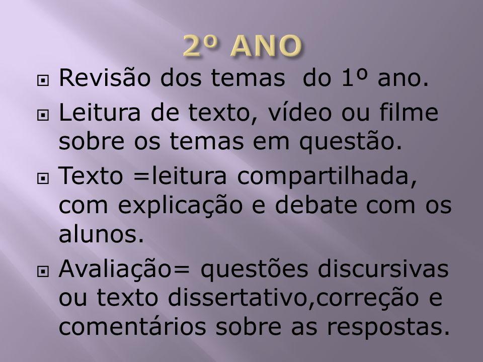 2º ANO Revisão dos temas do 1º ano.