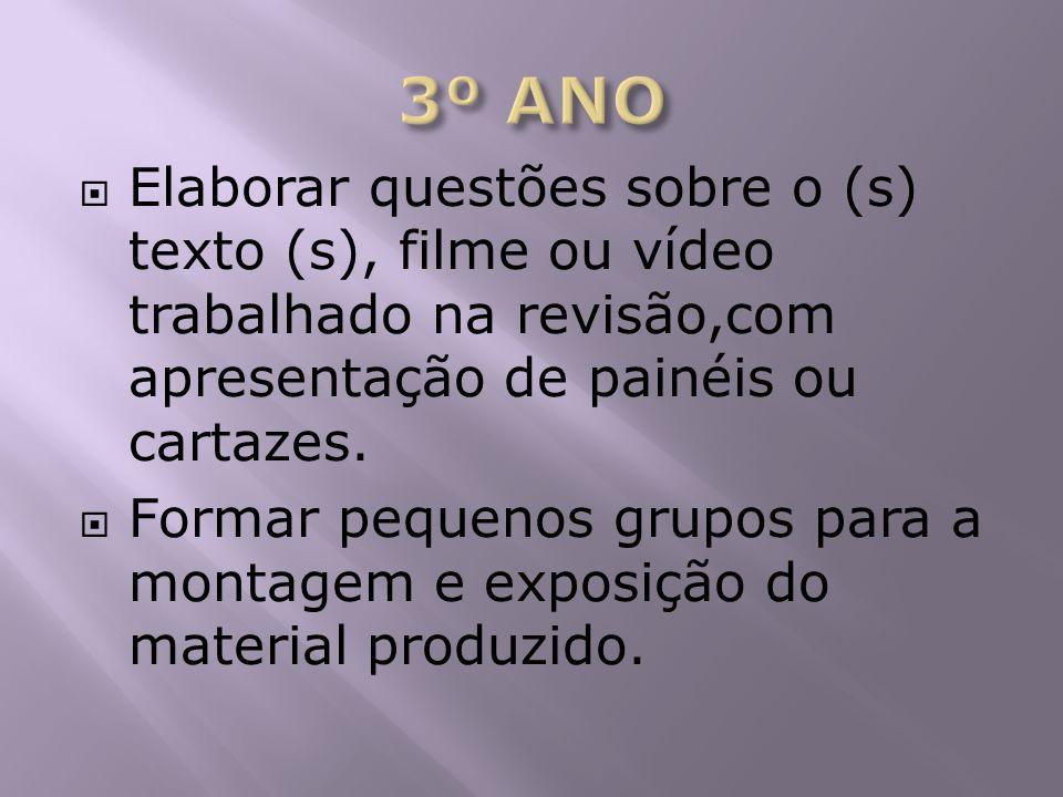 3º ANO Elaborar questões sobre o (s) texto (s), filme ou vídeo trabalhado na revisão,com apresentação de painéis ou cartazes.