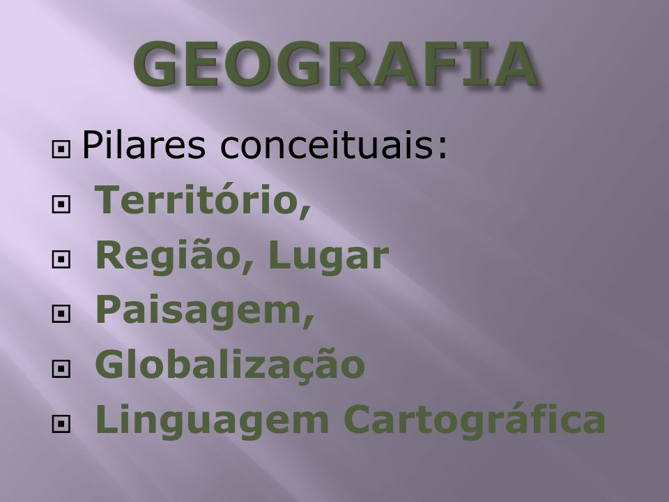GEOGRAFIA Pilares conceituais: Território, Região, Lugar Paisagem,