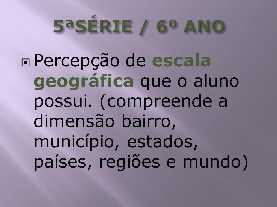 5ªSÉRIE / 6º ANO Percepção de escala geográfica que o aluno possui.