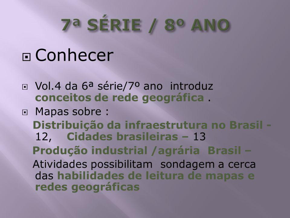 7ª SÉRIE / 8º ANO Conhecer. Vol.4 da 6ª série/7º ano introduz conceitos de rede geográfica . Mapas sobre :