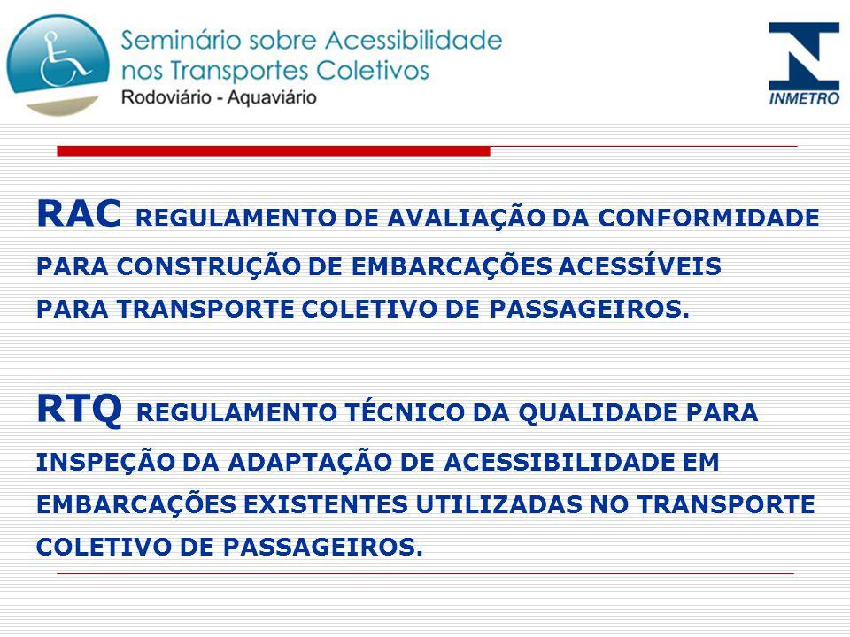 RAC REGULAMENTO DE AVALIAÇÃO DA CONFORMIDADE PARA CONSTRUÇÃO DE EMBARCAÇÕES ACESSÍVEIS