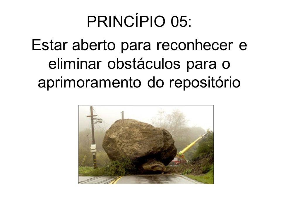 PRINCÍPIO 05: Estar aberto para reconhecer e eliminar obstáculos para o aprimoramento do repositório.