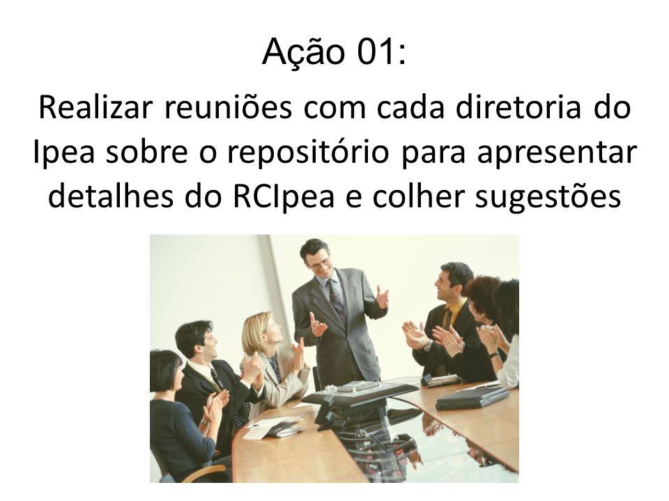 Ação 01: Realizar reuniões com cada diretoria do Ipea sobre o repositório para apresentar detalhes do RCIpea e colher sugestões.