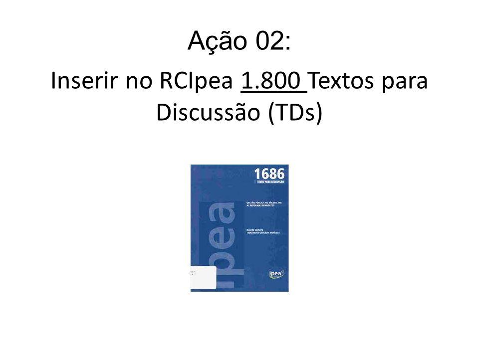 Inserir no RCIpea 1.800 Textos para Discussão (TDs)