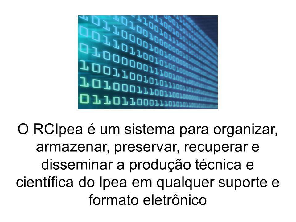 O RCIpea é um sistema para organizar, armazenar, preservar, recuperar e disseminar a produção técnica e científica do Ipea em qualquer suporte e formato eletrônico
