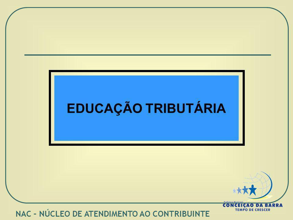 EDUCAÇÃO TRIBUTÁRIA NAC – NÚCLEO DE ATENDIMENTO AO CONTRIBUINTE