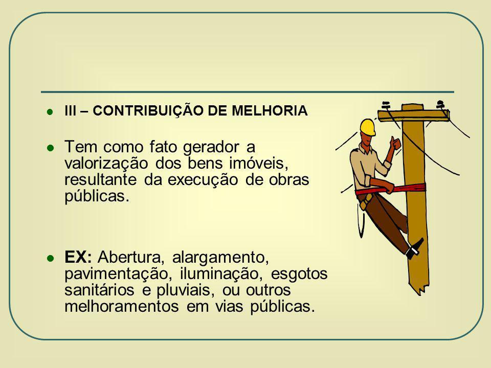 III – CONTRIBUIÇÃO DE MELHORIA