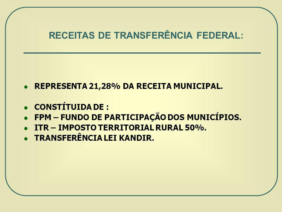 RECEITAS DE TRANSFERÊNCIA FEDERAL:
