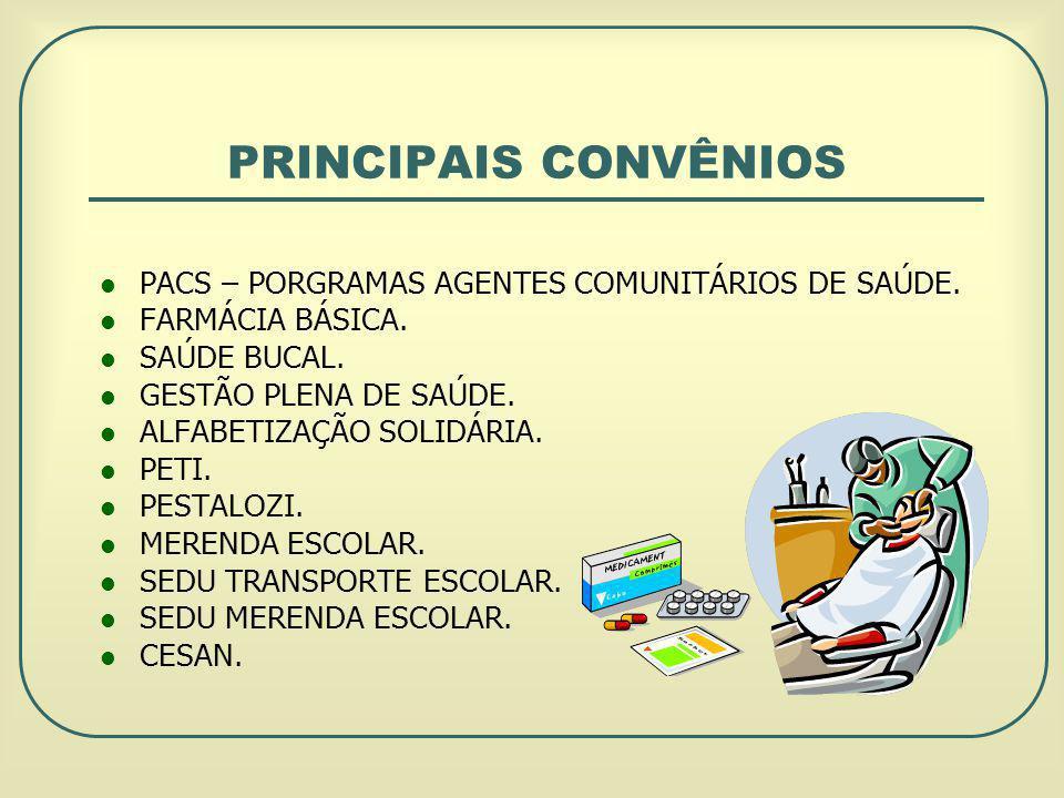 PRINCIPAIS CONVÊNIOS PACS – PORGRAMAS AGENTES COMUNITÁRIOS DE SAÚDE.