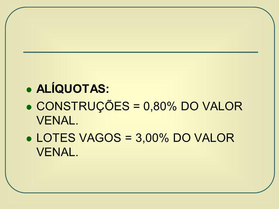 ALÍQUOTAS: CONSTRUÇÕES = 0,80% DO VALOR VENAL. LOTES VAGOS = 3,00% DO VALOR VENAL.