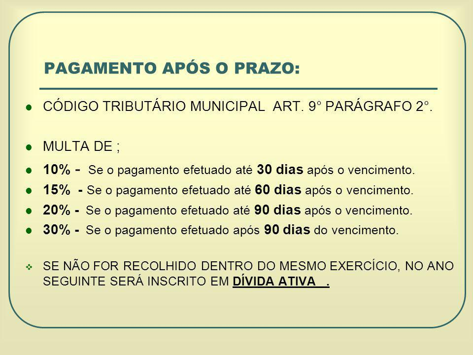 PAGAMENTO APÓS O PRAZO: