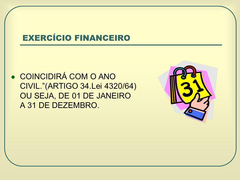 EXERCÍCIO FINANCEIRO COINCIDIRÁ COM O ANO CIVIL. (ARTIGO 34.Lei 4320/64) OU SEJA, DE 01 DE JANEIRO A 31 DE DEZEMBRO.