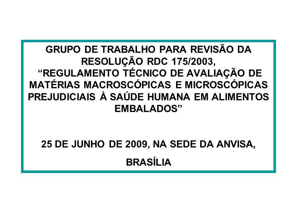 GRUPO DE TRABALHO PARA REVISÃO DA RESOLUÇÃO RDC 175/2003, REGULAMENTO TÉCNICO DE AVALIAÇÃO DE MATÉRIAS MACROSCÓPICAS E MICROSCÓPICAS PREJUDICIAIS À SAÚDE HUMANA EM ALIMENTOS EMBALADOS 25 DE JUNHO DE 2009, NA SEDE DA ANVISA, BRASÍLIA
