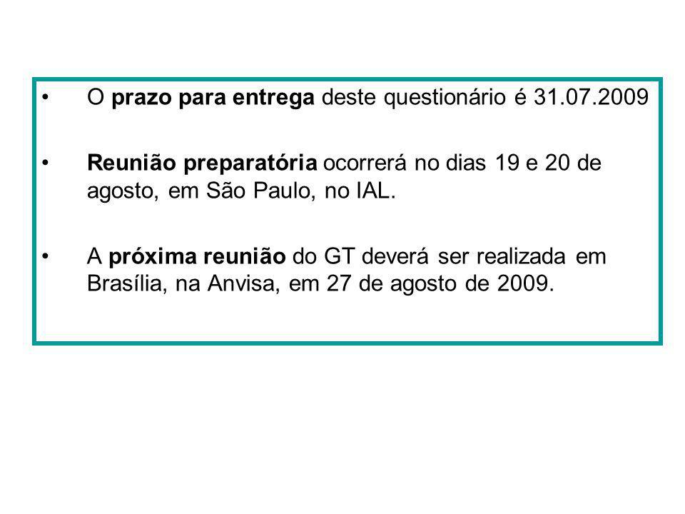 O prazo para entrega deste questionário é 31.07.2009