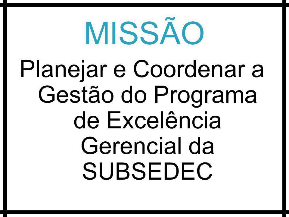 MISSÃO Planejar e Coordenar a Gestão do Programa de Excelência Gerencial da SUBSEDEC