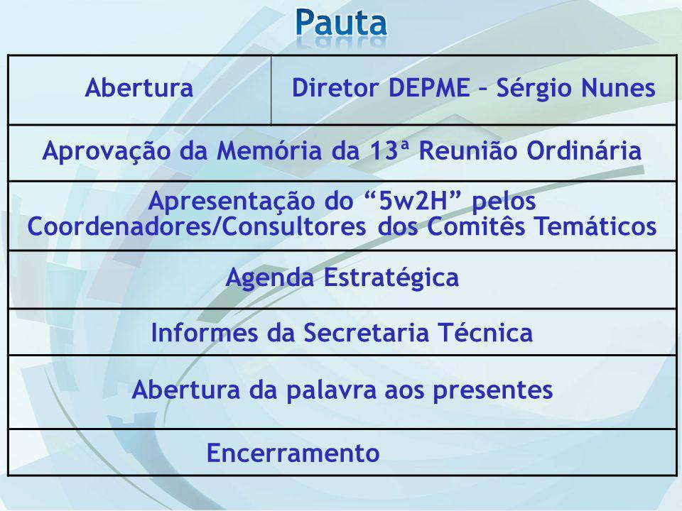 Pauta Abertura Diretor DEPME – Sérgio Nunes
