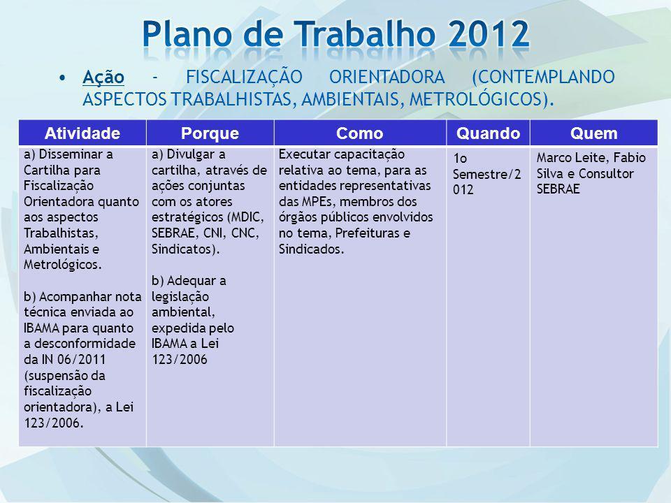 Plano de Trabalho 2012 Ação - FISCALIZAÇÃO ORIENTADORA (CONTEMPLANDO ASPECTOS TRABALHISTAS, AMBIENTAIS, METROLÓGICOS).