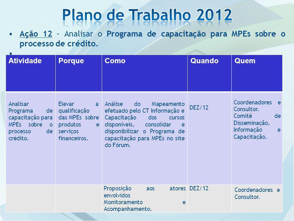 Plano de Trabalho 2012 Ação 12 – Analisar o Programa de capacitação para MPEs sobre o processo de crédito.