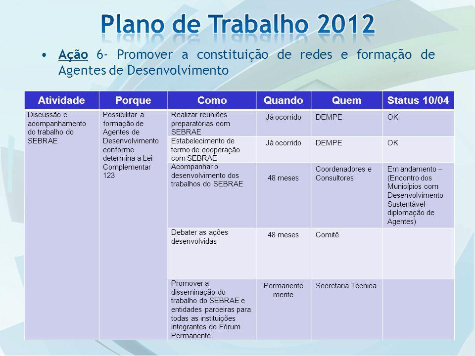 Plano de Trabalho 2012 Ação 6- Promover a constituição de redes e formação de Agentes de Desenvolvimento.