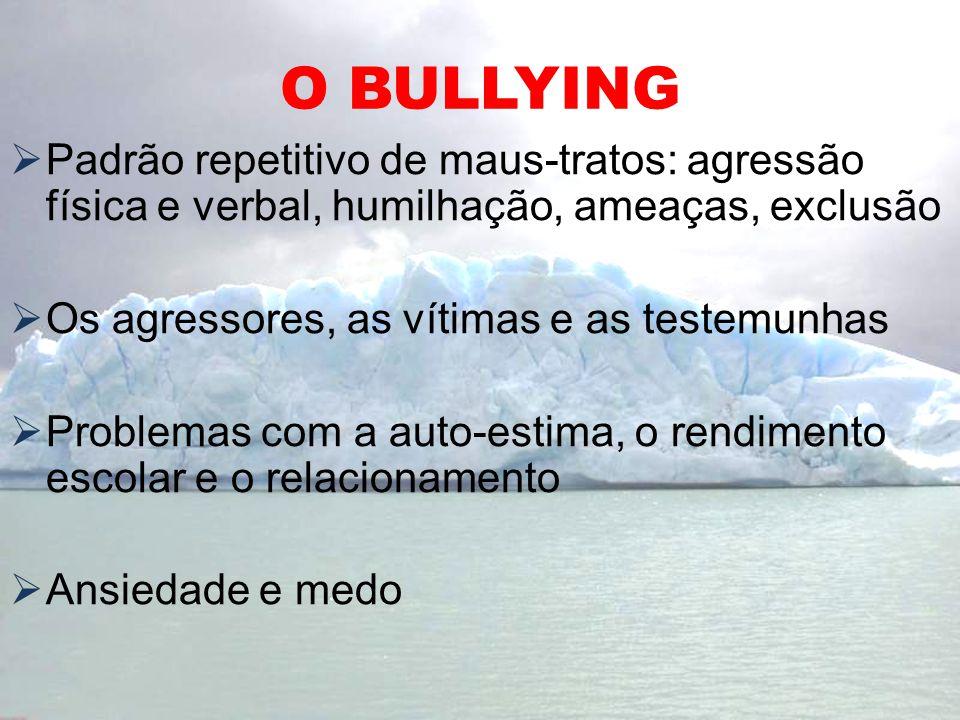 O BULLYING Padrão repetitivo de maus-tratos: agressão física e verbal, humilhação, ameaças, exclusão.