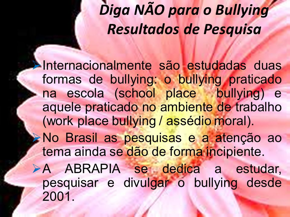 Diga NÃO para o Bullying Resultados de Pesquisa