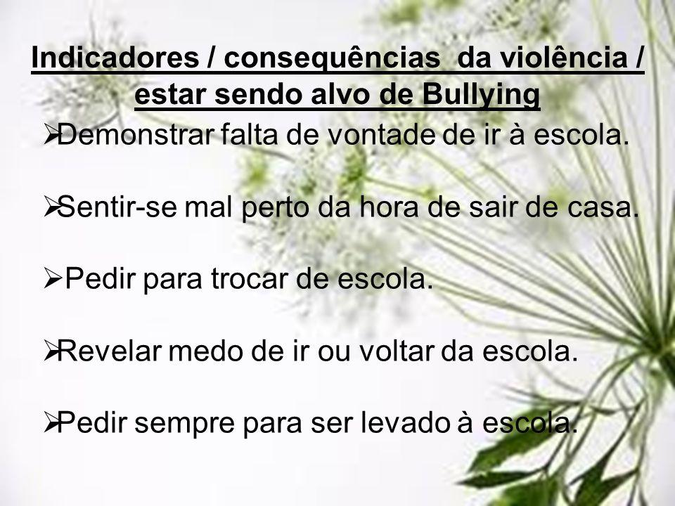 Indicadores / consequências da violência / estar sendo alvo de Bullying