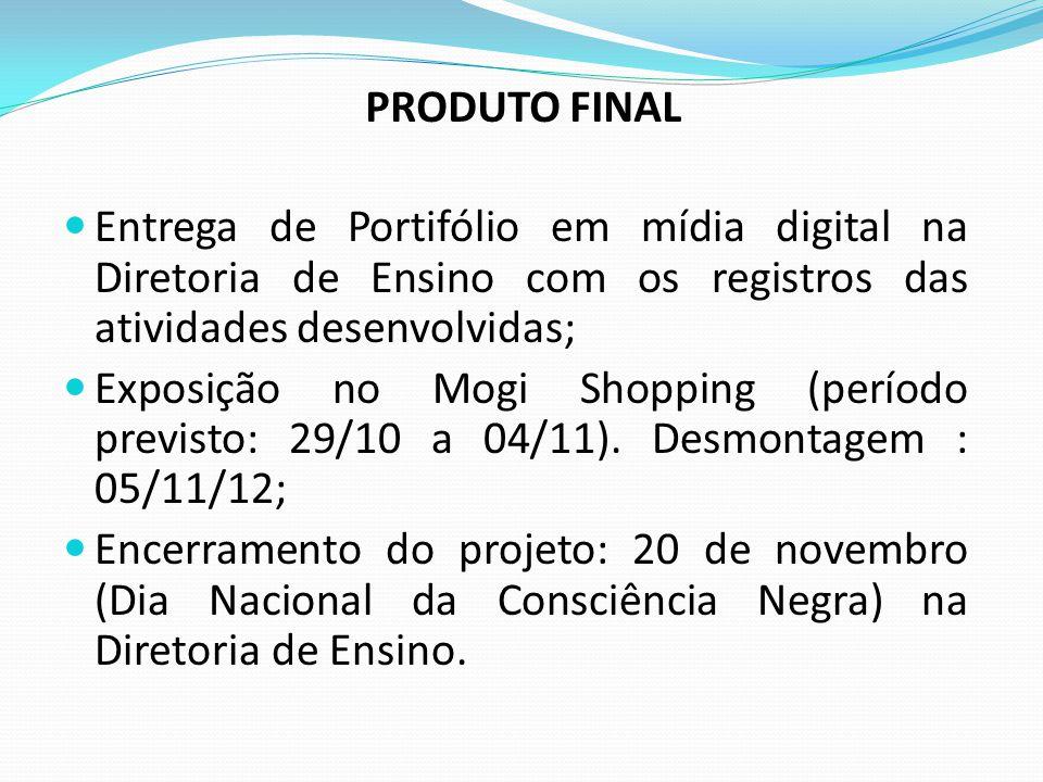 PRODUTO FINAL Entrega de Portifólio em mídia digital na Diretoria de Ensino com os registros das atividades desenvolvidas;