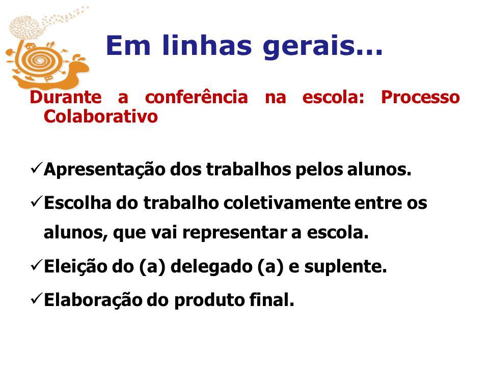 Em linhas gerais... Durante a conferência na escola: Processo Colaborativo. Apresentação dos trabalhos pelos alunos.