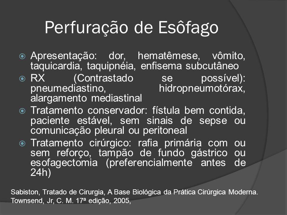 Perfuração de Esôfago Apresentação: dor, hematêmese, vômito, taquicardia, taquipnéia, enfisema subcutâneo.