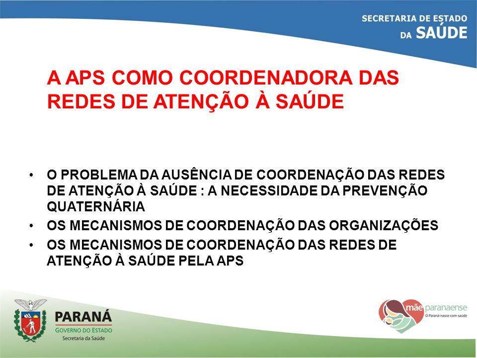 A APS COMO COORDENADORA DAS REDES DE ATENÇÃO À SAÚDE