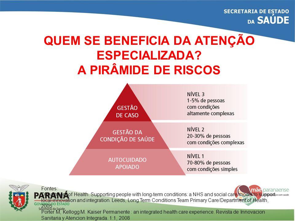 QUEM SE BENEFICIA DA ATENÇÃO ESPECIALIZADA A PIRÂMIDE DE RISCOS