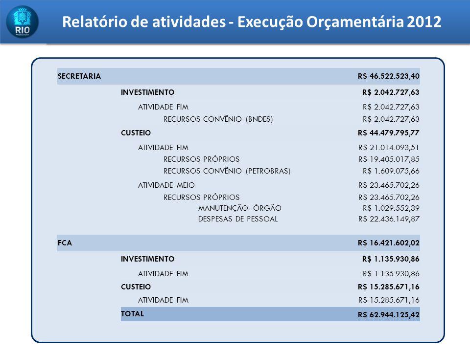Relatório de atividades - Execução Orçamentária 2012