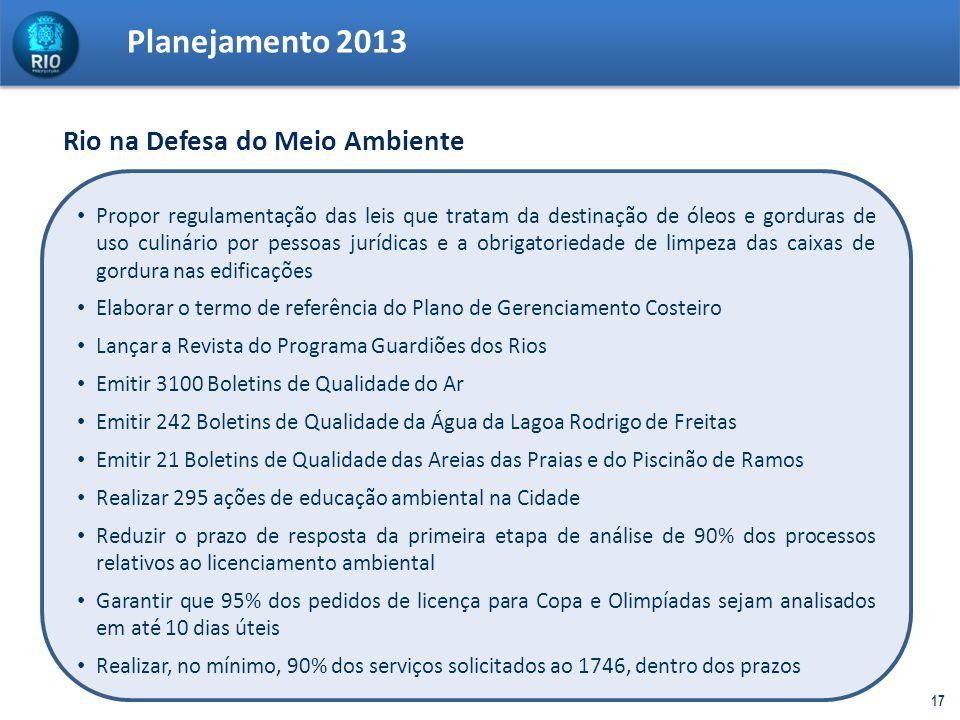 Planejamento 2013 Rio na Defesa do Meio Ambiente