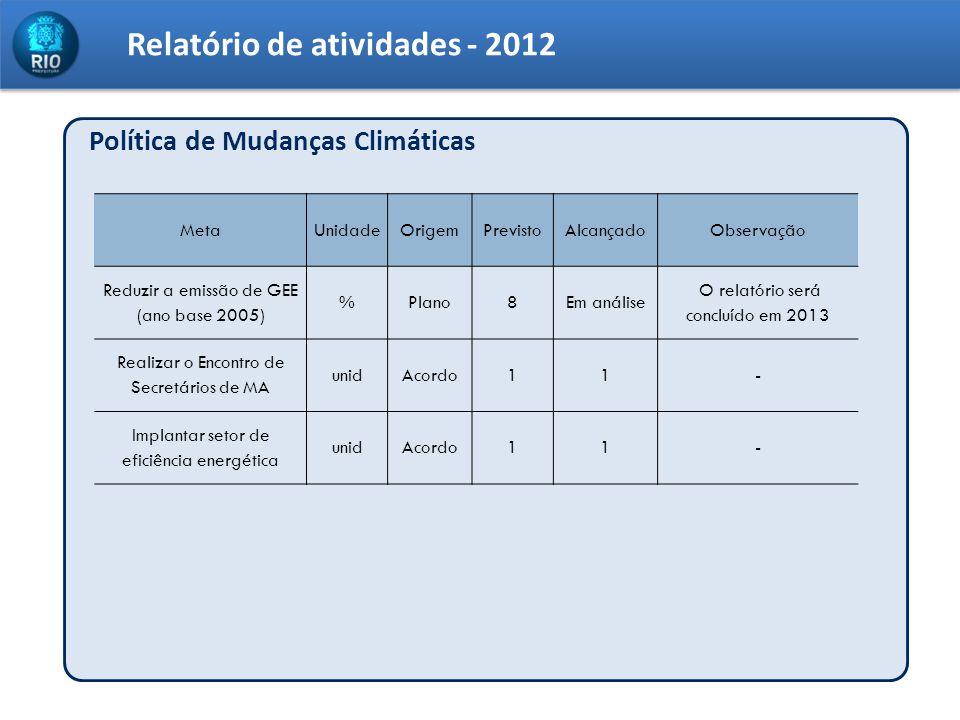Relatório de atividades - 2012