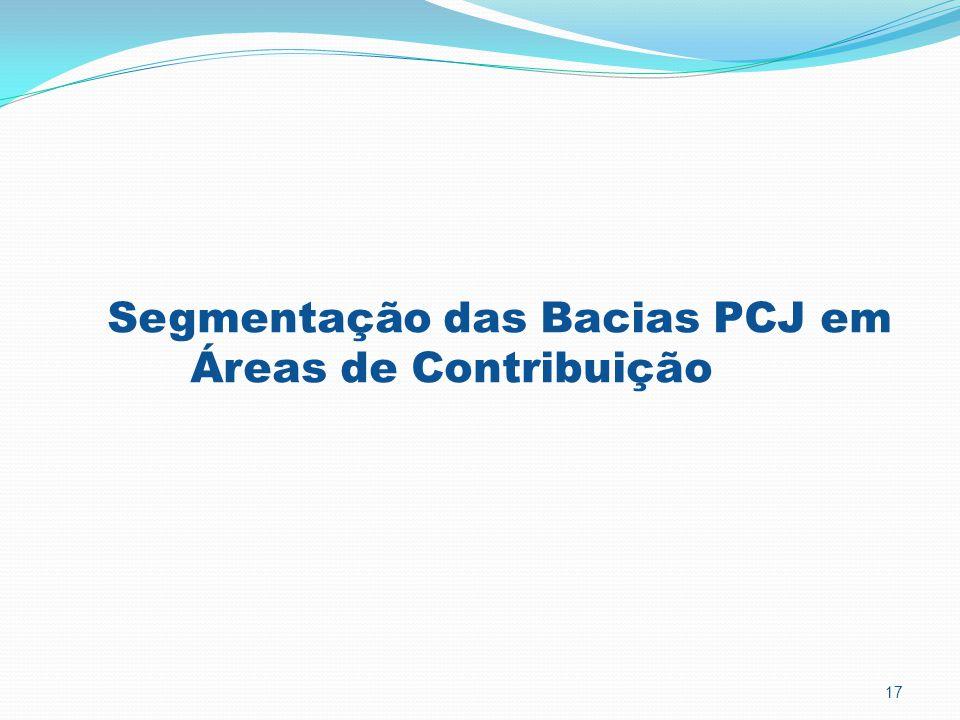 Segmentação das Bacias PCJ em Áreas de Contribuição