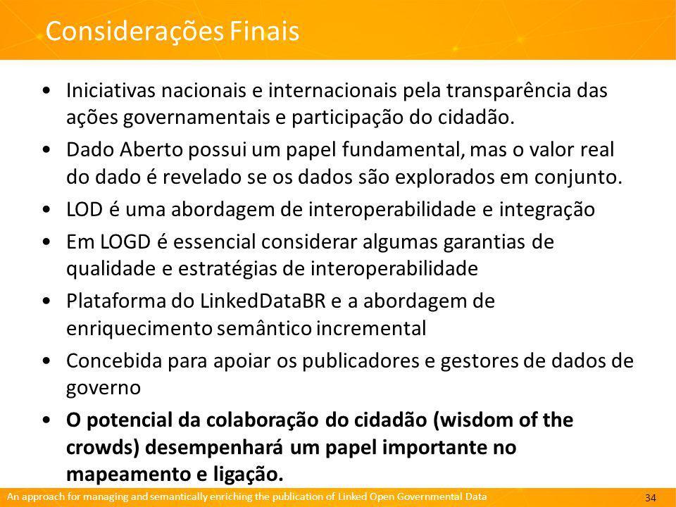 Considerações Finais Iniciativas nacionais e internacionais pela transparência das ações governamentais e participação do cidadão.