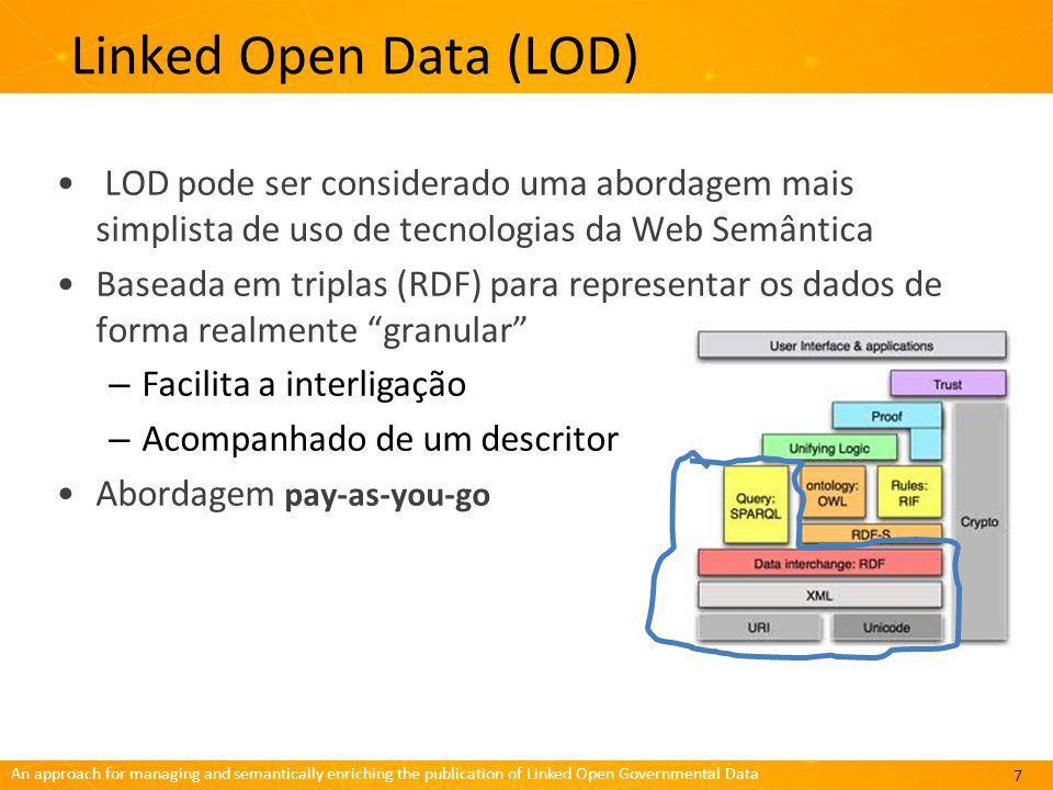 Linked Open Data (LOD) LOD pode ser considerado uma abordagem mais simplista de uso de tecnologias da Web Semântica.