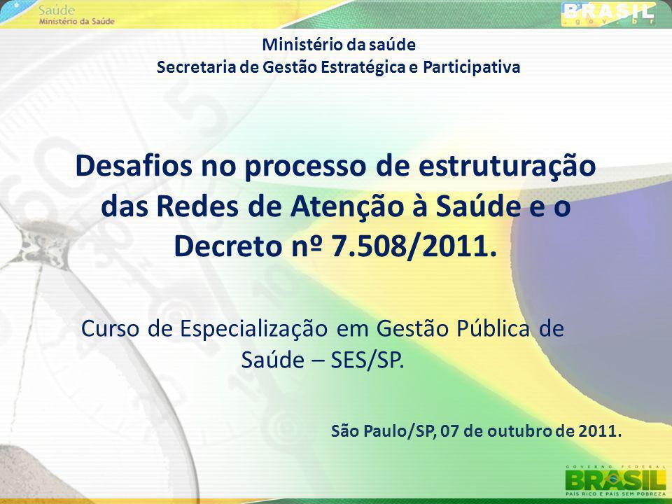 Curso de Especialização em Gestão Pública de Saúde – SES/SP.
